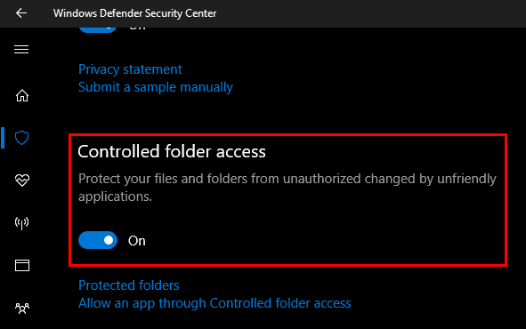 Windows 10 Controlled Folder Access Option
