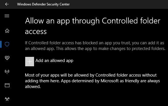Windows 10 Controlled Folder Access Whitelist Options