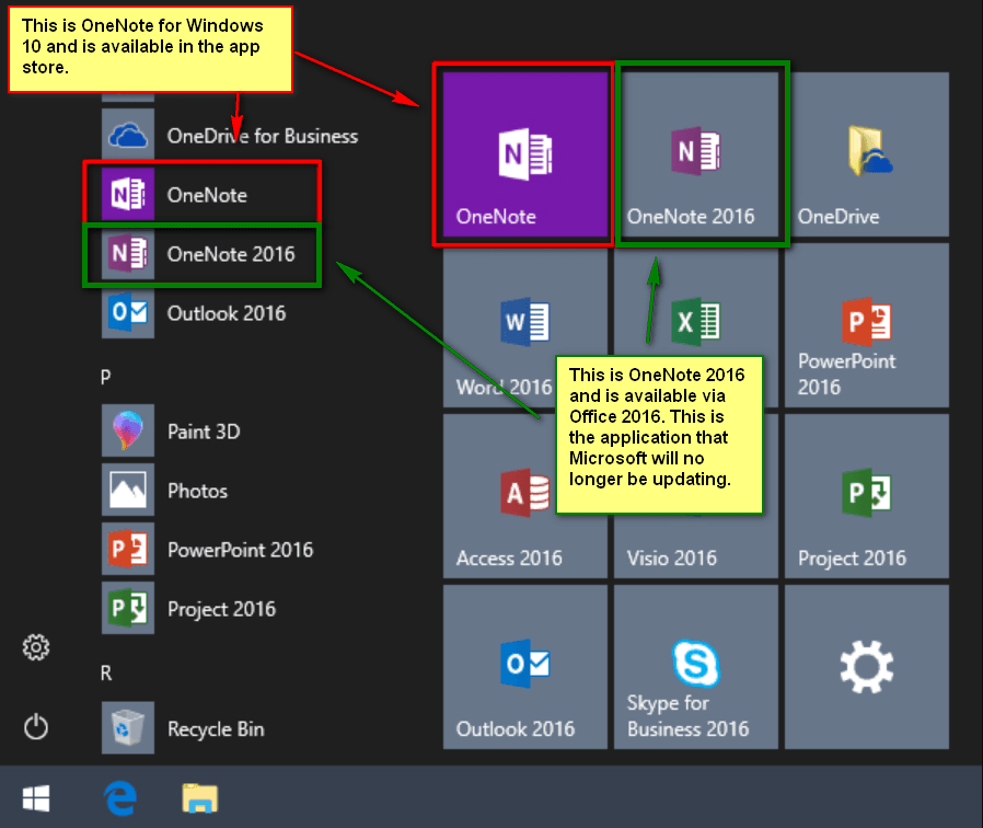 onenote windows 10 vs onenote 2016