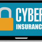"laptop with blue background, a big pad lock, and the text, ""Cyber Insurance"""